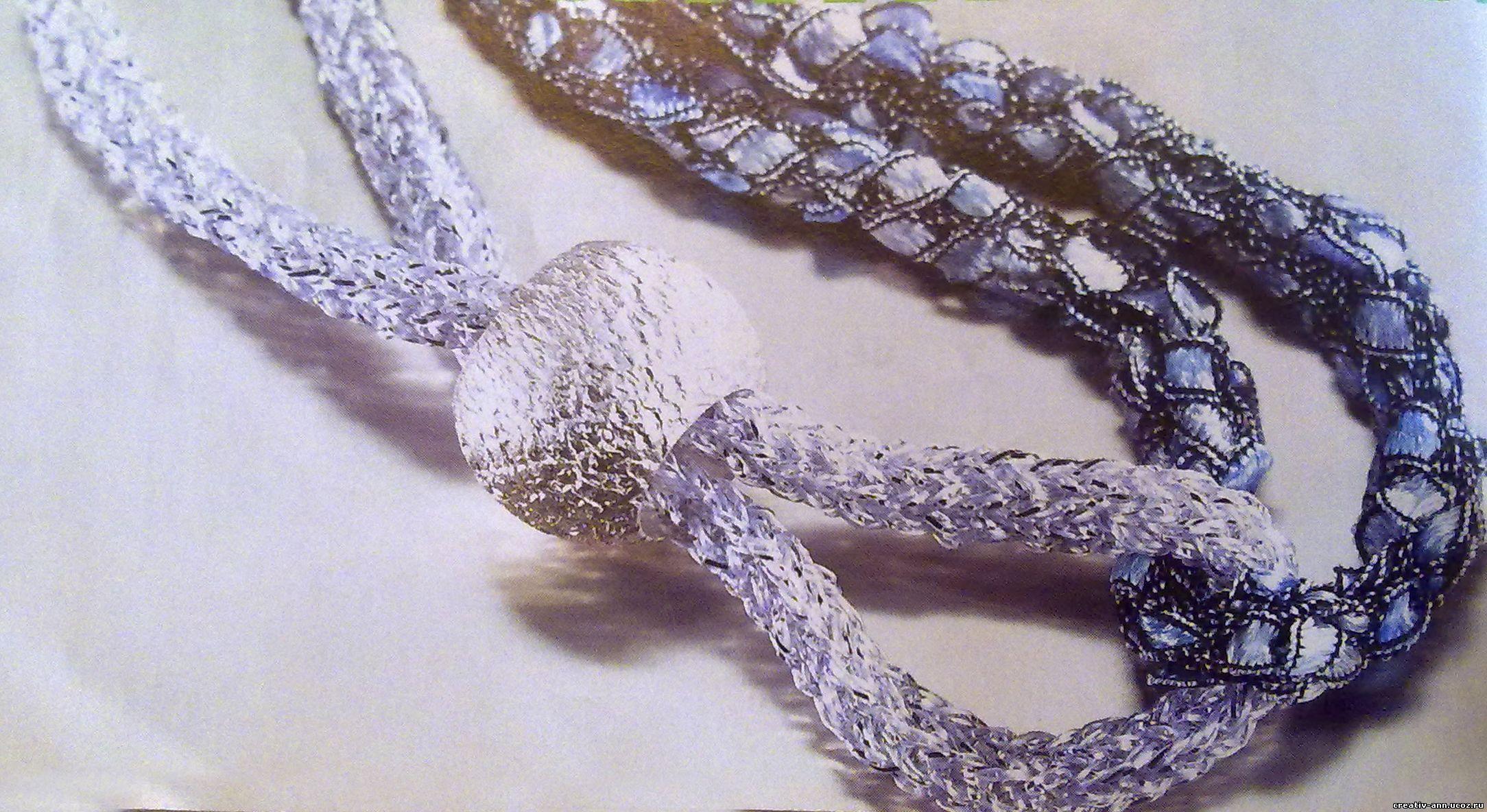 колье из шнуров,вязание
