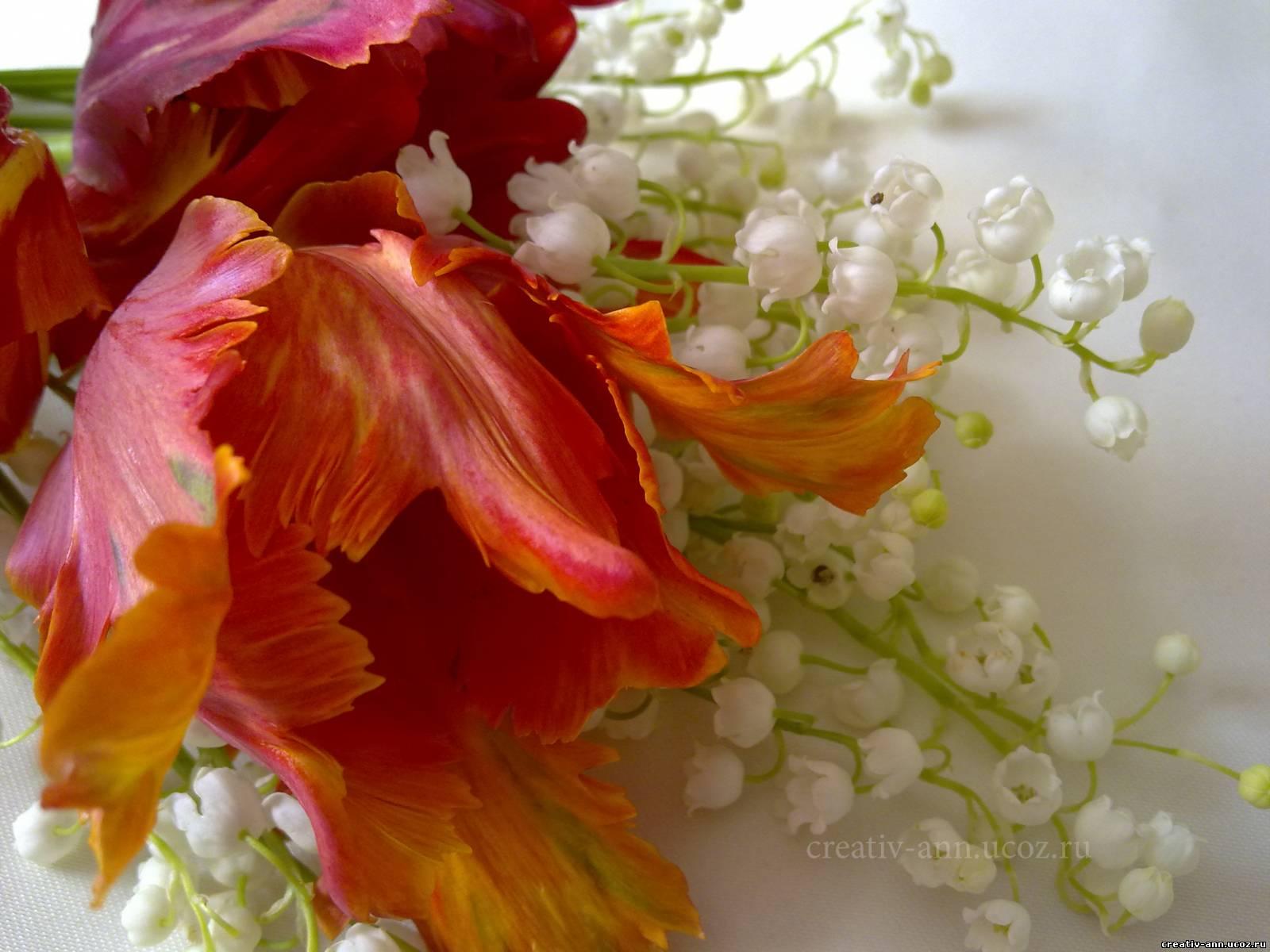 Букет ландышей тюльпанов фото