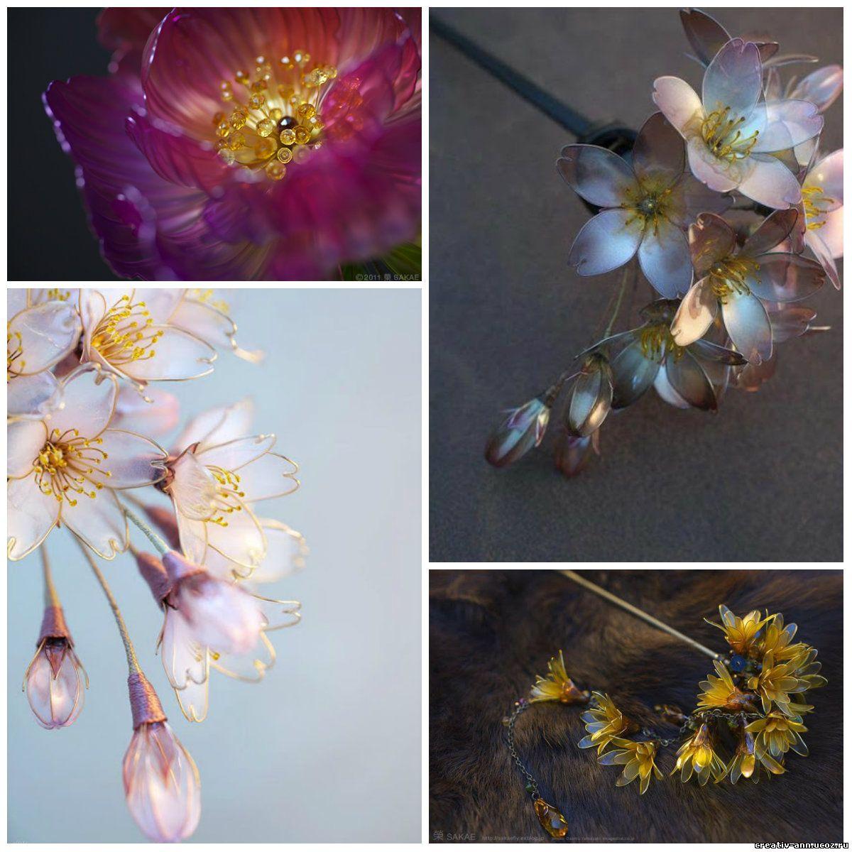 рукотворные цветы из стекла