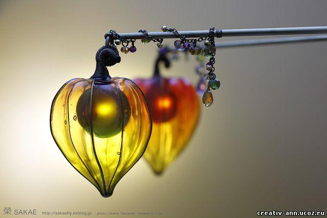 стеклодув физалис цветы из стекла